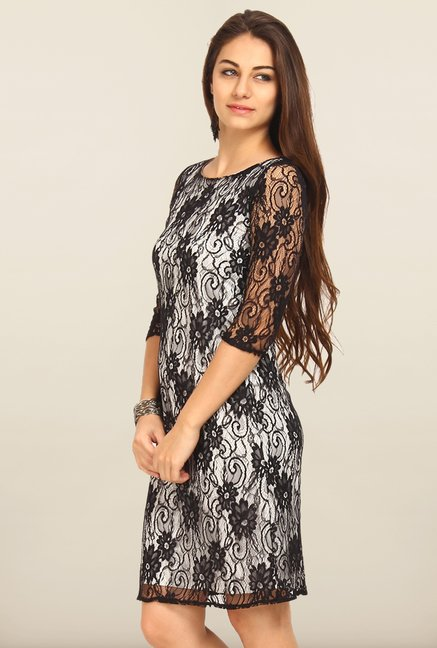 Avirate Black Lace Shift Dress
