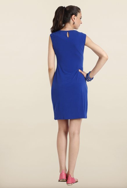 Avirate Blue Solid Shift Dress
