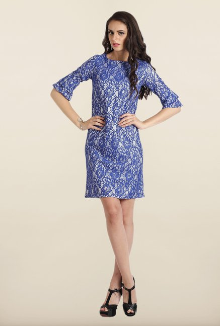 Avirate Blue Lace Shift Dress