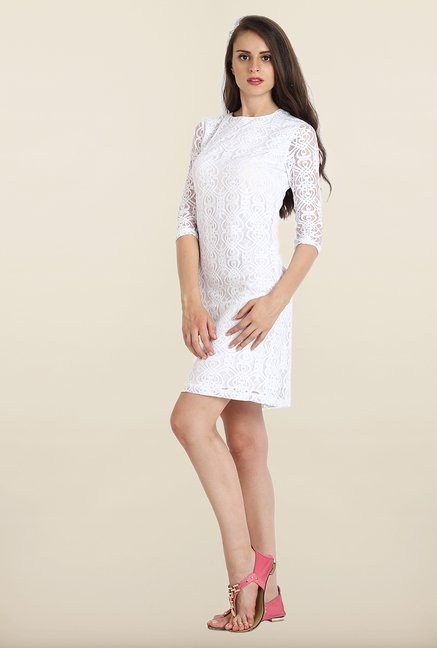 Avirate White Self Design Shift Dress