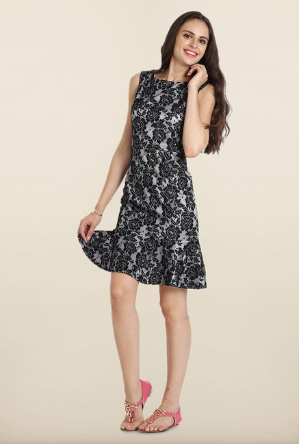 Avirate Black Lace Drop Waist Dress