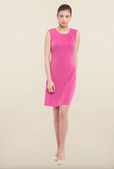 Avirate Pink Solid Shift Dress