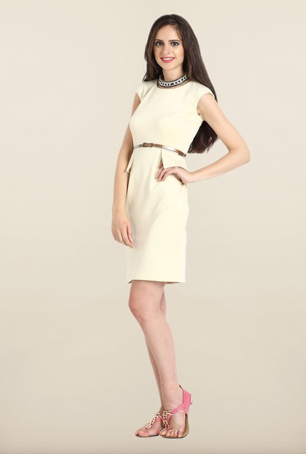Avirate Beige Solid Peplum Dress