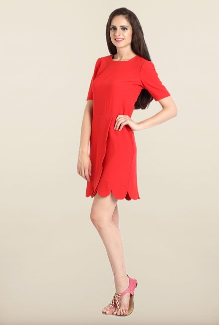 Avirate Red Solid Boat Neck Casual Dress