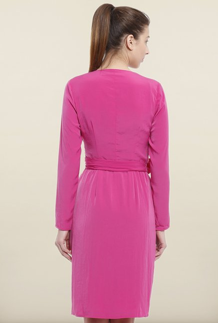 Avirate Pink Solid Robe Dress