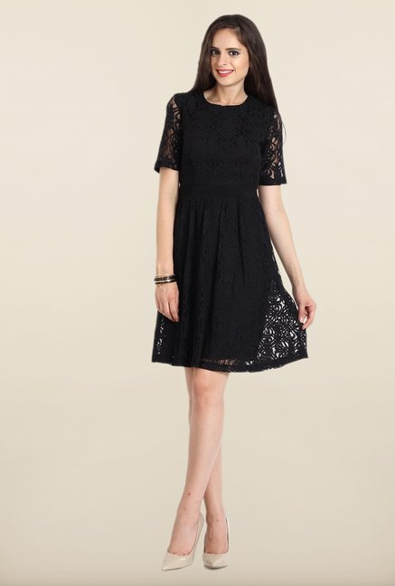 Avirate Black Lace A-line Dress