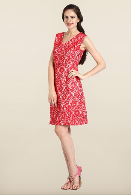 Avirate Red Lace Princess Panel Dress