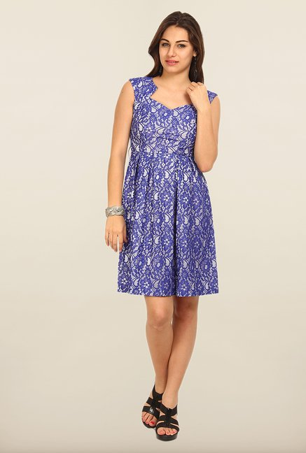 Avirate Blue Lace A-Line Dress