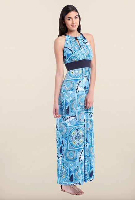 Avirate Blue Printed Halter Neck Maxi Dress