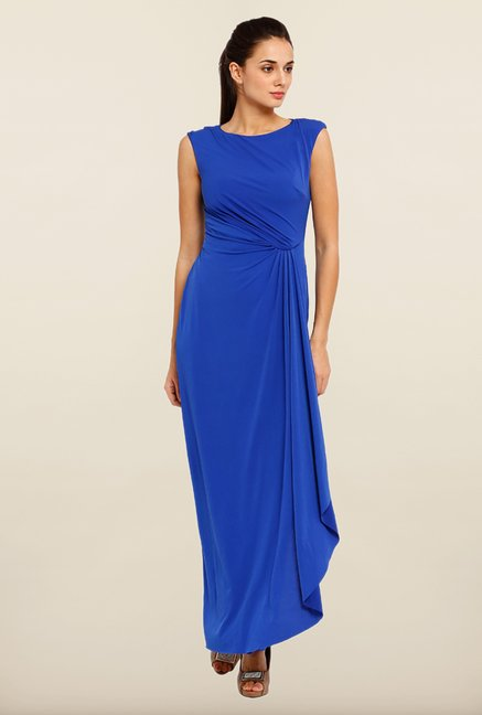 Avirate Blue Solid Boat Neck Maxi Dress