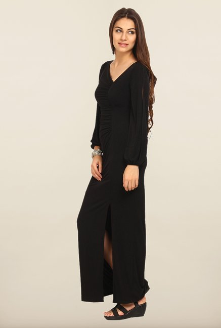 Avirate Black Solid Full Sleeves Maxi Dress
