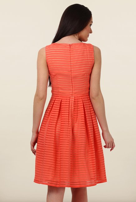 Avirate Orange Self Princess Panel Dress