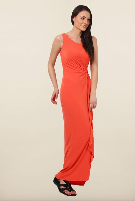 Avirate Orange Solid Maxi Dress