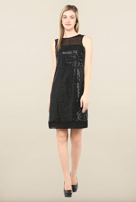 Avirate Black Embellished Above Knee Dress