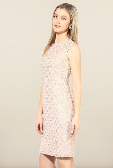 Avirate Peach Embroidered A-Line Dress