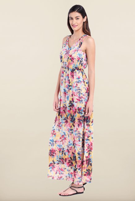 Avirate Multicolor Printed V Neck Maxi Dress