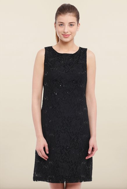 Avirate Black Embellished Shift Dress