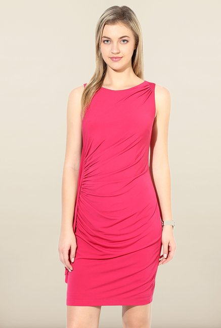 Avirate Pink Solid Jersey Dress
