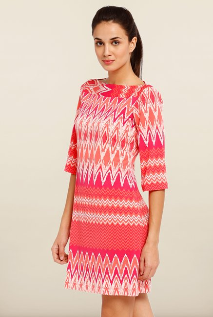 Avirate Red Aztec Print Shift Dress
