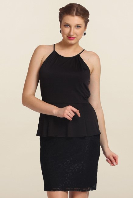 Avirate Black Solid Peplum Dress