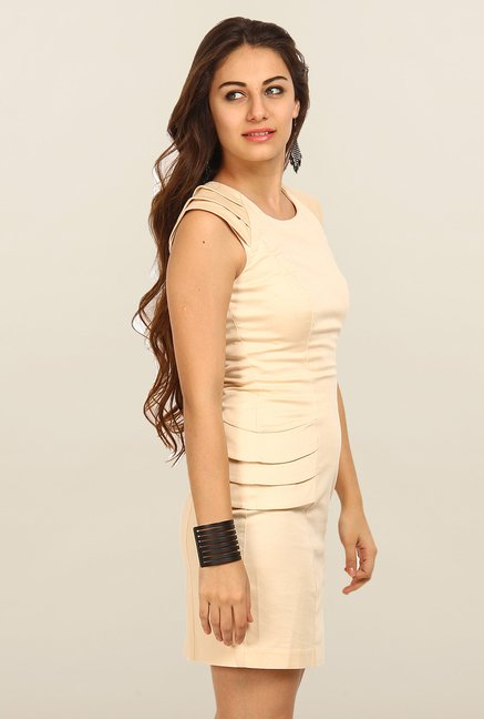 Avirate Peach Solid Bodycon Dress