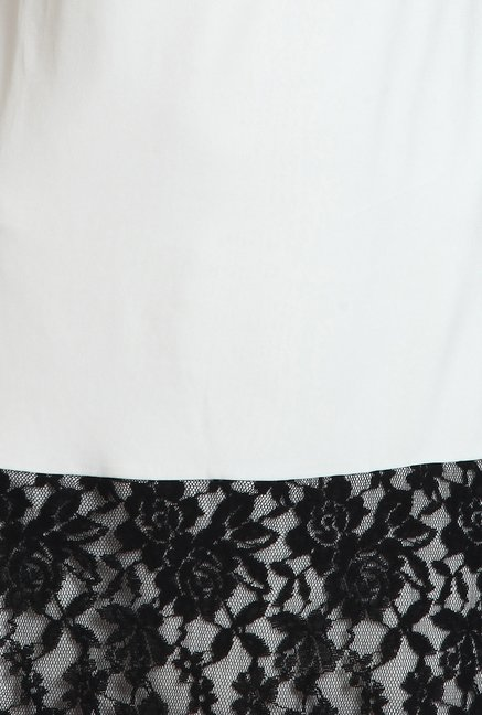 Avirate Off-White Lace Shift Dress