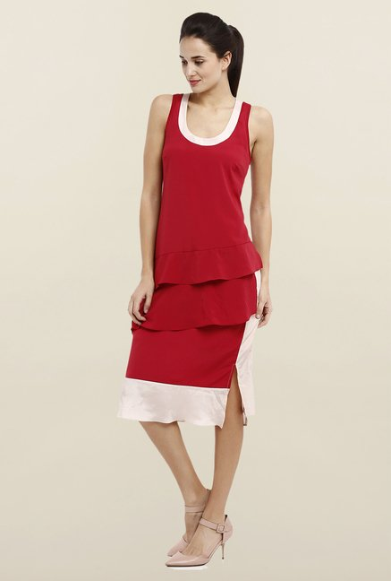 Avirate Red Solid Asymmetric Dress