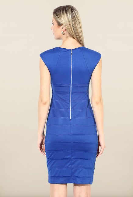 Avirate Blue Solid Bodycon Dress