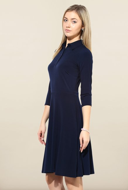 Avirate Navy Solid Princess Panel Dress