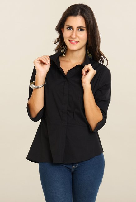 Avirate Black Solid Casual Shirt