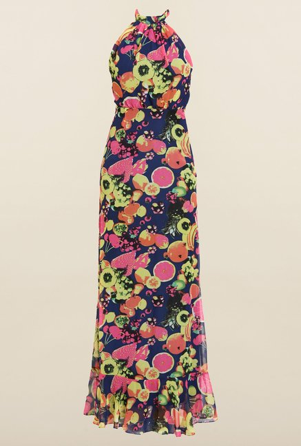 Avirate Multicolor Printed Halter Neck Casual Dress