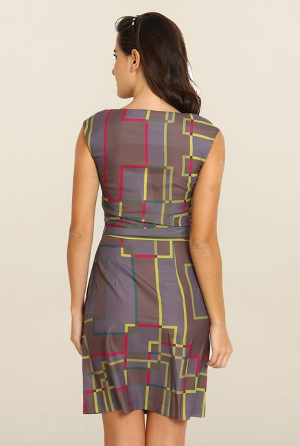 Avirate Grey Printed A-Line Dress