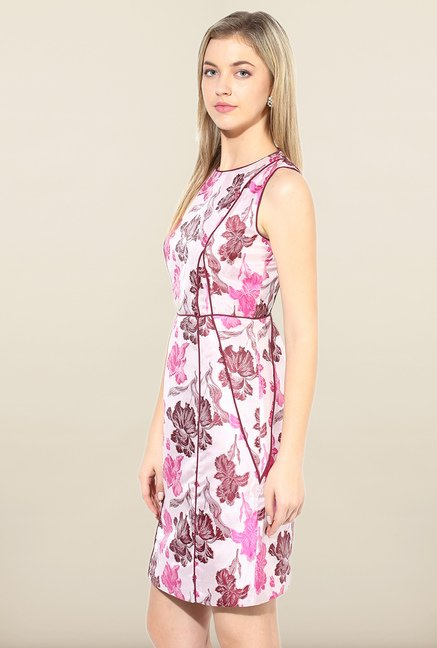 Avirate Pink Floral Print A-Line Dress