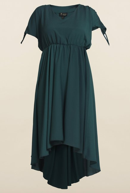 Avirate Green Solid High-Low Dress
