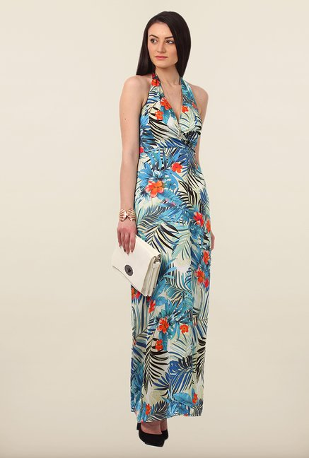 Avirate Blue Printed Halter Maxi Dress