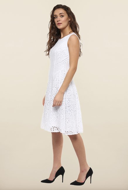 Avirate White Crochet A-Line Dress