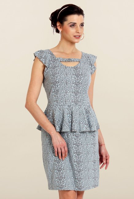 Avirate Grey Printed Peplum Dress