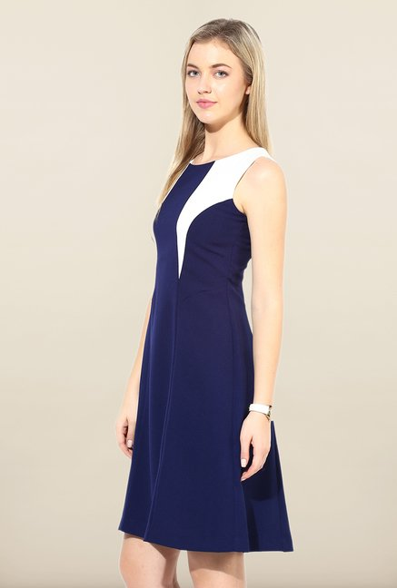 Avirate Navy Solid Shift Dress