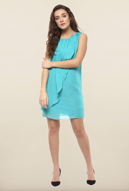 Avirate Turquoise Solid Shift Dress