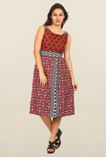 Avirate Multicolor Printed A-Line Dress