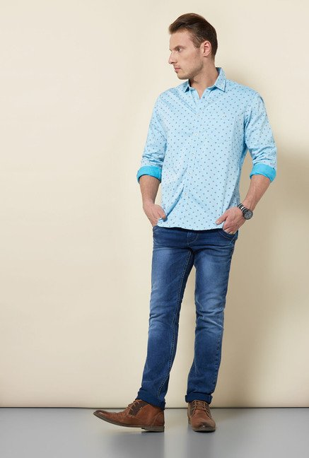 Killer Sky Blue Printed Shirt