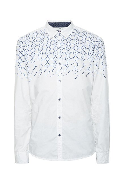 Killer White Grid Printed Shirt