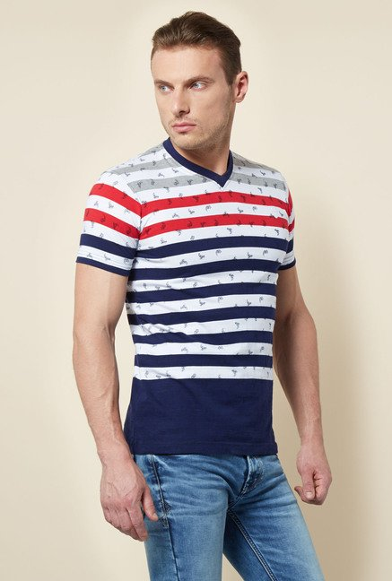 Killer Navy Striped V-Neck T Shirt
