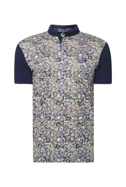 Lawman Navy Printed Cotton T shirt