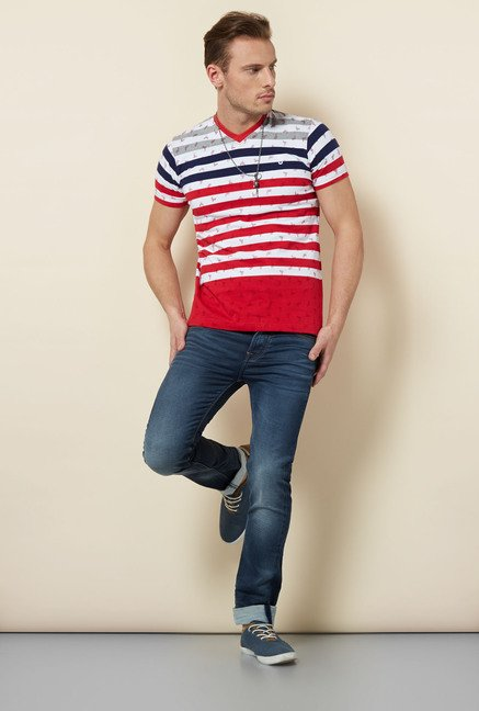 Killer Red Striped V-Neck T Shirt