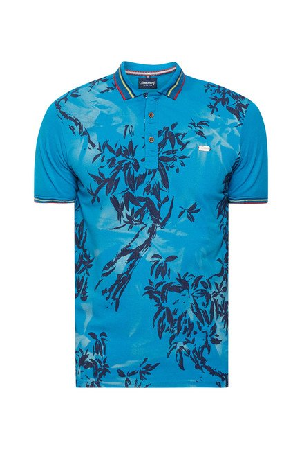 Lawman Blue Printed Slim Fit T shirt