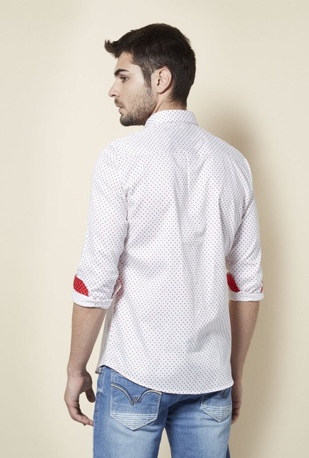 Lawman White Polka Dot Print Shirt