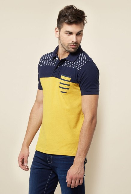 Lawman Yellow & Navy Printed T shirt
