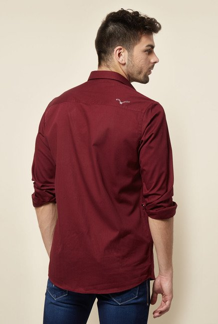 Lawman Maroon Cotton Casual Shirt