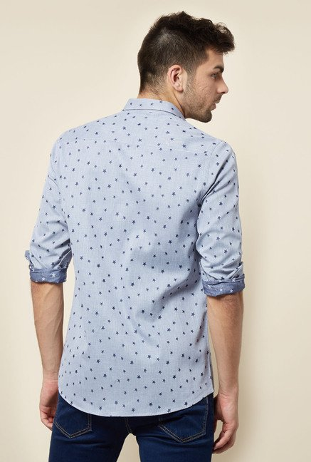 Lawman Blue Printed Casual Shirt